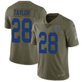 Wholesale Cheap Nike Colts #28 Jonathan Taylor Olive Youth Stitched NFL Limited 2017 Salute To Service Jersey