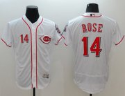 Wholesale Reds #14 Pete Rose White Flexbase Authentic Collection Stitched Baseball Jersey