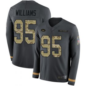 Wholesale Cheap Nike Jets #95 Quinnen Williams Anthracite Salute to Service Men\'s Stitched NFL Limited Therma Long Sleeve Jersey