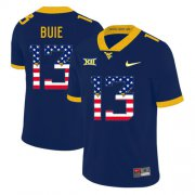 Wholesale Cheap West Virginia Mountaineers 13 Andrew Buie Navy USA Flag College Football Jersey