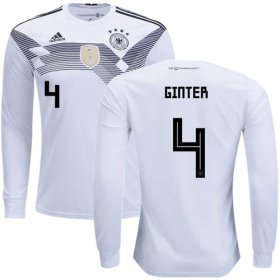 Wholesale Cheap Germany #4 Ginter White Home Long Sleeves Soccer Country Jersey