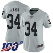 Wholesale Cheap Nike Raiders #34 Bo Jackson Silver Women's Stitched NFL Limited Inverted Legend 100th Season Jersey