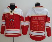 Wholesale Cheap Angels of Anaheim #56 Kole Calhoun Red Sawyer Hooded Sweatshirt MLB Hoodie