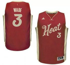 Wholesale Cheap Men\'s Miami Heat #3 Dwyane Wade Revolution 30 Swingman 2015 Christmas Day Red Jersey