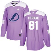 Cheap Adidas Lightning #81 Erik Cernak Purple Authentic Fights Cancer Stitched NHL Jersey