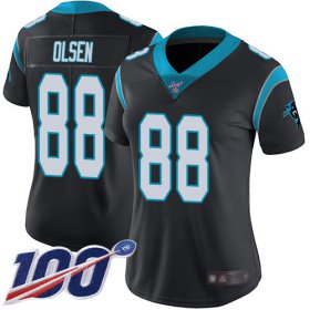 Wholesale Cheap Nike Panthers #88 Greg Olsen Black Team Color Women\'s Stitched NFL 100th Season Vapor Limited Jersey