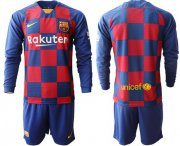Wholesale Cheap Barcelona Blank Home Long Sleeves Soccer Club Jersey
