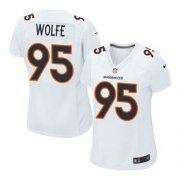 Wholesale Cheap Nike Broncos #95 Derek Wolfe White Women's Stitched NFL Game Event Jersey