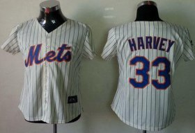 Wholesale Cheap Mets #33 Matt Harvey Cream(Blue Strip) Women\'s Fashion Stitched MLB Jersey