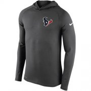 Wholesale Cheap Men's Houston Texans Nike Charcoal Stadium Touch Hooded Performance Long Sleeve T-Shirt