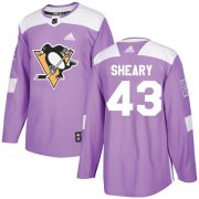 Wholesale Cheap Adidas Penguins #43 Conor Sheary Purple Authentic Fights Cancer Stitched NHL Jersey