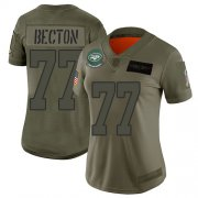 Wholesale Cheap Nike Jets #77 Mekhi Becton Camo Women's Stitched NFL Limited 2019 Salute To Service Jersey