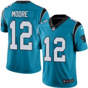 Wholesale Cheap Nike Panthers #12 DJ Moore Blue Men's Stitched NFL Limited Rush Jersey