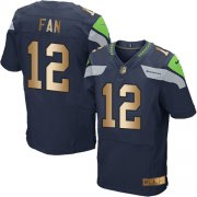 Wholesale Cheap Nike Seahawks #12 Fan Steel Blue Team Color Men's Stitched NFL Elite Gold Jersey