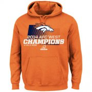 Wholesale Cheap Denver Broncos Majestic 2014 AFC West Division Champions Hoodie Orange