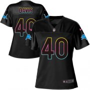 Wholesale Cheap Nike Lions #40 Jarrad Davis Black Women's NFL Fashion Game Jersey