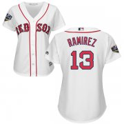 Wholesale Cheap Red Sox #13 Hanley Ramirez White Home 2018 World Series Women's Stitched MLB Jersey