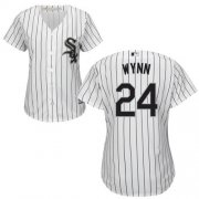 Wholesale Cheap White Sox #24 Early Wynn White(Black Strip) Home Women's Stitched MLB Jersey