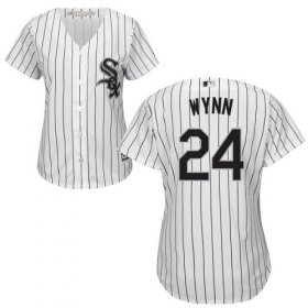 Wholesale Cheap White Sox #24 Early Wynn White(Black Strip) Home Women\'s Stitched MLB Jersey