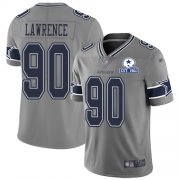Wholesale Cheap Nike Cowboys #90 DeMarcus Lawrence Gray Men's Stitched With Established In 1960 Patch NFL Limited Inverted Legend Jersey