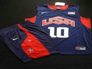 Wholesale Cheap 2012 Olympics Team USA 10 Kobe Bryant Blue Basketball Suit