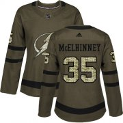 Cheap Adidas Lightning #35 Curtis McElhinney Green Salute to Service Women's Stitched NHL Jersey