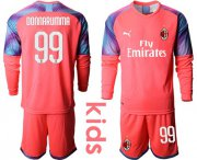 Wholesale Cheap AC Milan #99 Donnarumma Pink Goalkeeper Long Sleeves Kid Soccer Club Jersey