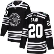 Wholesale Cheap Adidas Blackhawks #20 Brandon Saad Black Authentic 2019 Winter Classic Stitched Youth NHL Jersey