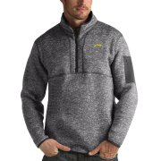 Wholesale Cheap Los Angeles Chargers Antigua Fortune Quarter-Zip Pullover Jacket Charcoal