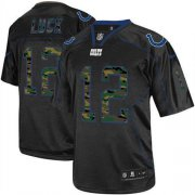 Wholesale Cheap Nike Colts #12 Andrew Luck Black Men's Stitched NFL Elite Camo Fashion Jersey