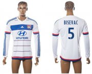 Wholesale Cheap Lyon #5 Bisevac Home Long Sleeves Soccer Club Jersey