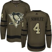 Wholesale Cheap Adidas Penguins #4 Justin Schultz Green Salute to Service Stitched NHL Jersey