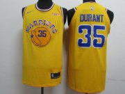 Wholesale Cheap Nike Golden State Warriors #35 Kevin Durant Yellow Throwback Authentic Jersey