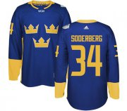 Wholesale Cheap Team Sweden #34 Carl Soderberg Blue 2016 World Cup Stitched NHL Jersey