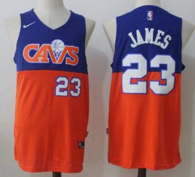 Wholesale Cheap Men\'s Cleveland Cavaliers #23 LeBron James Royal Blue with Orange Fadeaway 2017-2018 Nike Swingman Stitched NBA Jersey