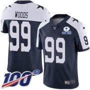 Wholesale Cheap Nike Cowboys #99 Antwaun Woods Navy Blue Thanksgiving Men's Stitched With Established In 1960 Patch NFL 100th Season Vapor Untouchable Limited Throwback Jersey