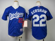 Wholesale Cheap Dodgers #22 Clayton Kershaw Blue Cool Base Stitched Youth MLB Jersey