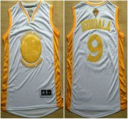 Wholesale Cheap Golden State Warriors #9 Andre Iguodala 2015 NBA Final Game Gold Name White Jersey