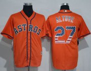 Wholesale Cheap Astros #27 Jose Altuve Orange USA Flag Fashion Stitched MLB Jersey