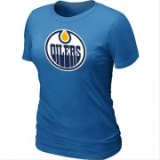 Wholesale Cheap Women's NHL Edmonton Oilers Big & Tall Logo T-Shirt Light Blue
