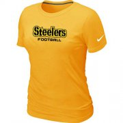 Wholesale Cheap Women's Nike Pittsburgh Steelers Sideline Legend Authentic Font T-Shirt Yellow