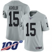 Wholesale Cheap Nike Raiders #15 Nelson Agholor Silver Youth Stitched NFL Limited Inverted Legend 100th Season Jersey