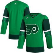 Wholesale Cheap Philadelphia Flyers Blank Men's Adidas 2020 St. Patrick's Day Stitched NHL Jersey Green