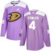Wholesale Cheap Adidas Ducks #4 Cam Fowler Purple Authentic Fights Cancer Youth Stitched NHL Jersey