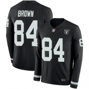 Wholesale Cheap Nike Raiders #84 Antonio Brown Black Team Color Men's Stitched NFL Limited Therma Long Sleeve Jersey