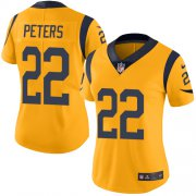 Wholesale Cheap Nike Rams #22 Marcus Peters Gold Women's Stitched NFL Limited Rush Jersey