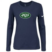 Wholesale Cheap Women's Nike New York Jets Of The City Long Sleeve Tri-Blend NFL T-Shirt Dark Blue
