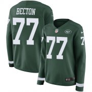 Wholesale Cheap Nike Jets #77 Mekhi Becton Green Team Color Women's Stitched NFL Limited Therma Long Sleeve Jersey