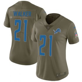 Wholesale Cheap Nike Lions #21 Tracy Walker Olive Women\'s Stitched NFL Limited 2017 Salute to Service Jersey