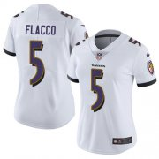 Wholesale Cheap Nike Ravens #5 Joe Flacco White Women's Stitched NFL Vapor Untouchable Limited Jersey